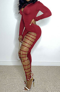 Wine Red Women Pure Color Sexy Chain Long Sleeve Zipper Hollow Out Bodycon Jumpsuits ED1065-2
