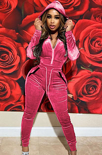 Pink High Quality Velvet Long Sleeve Hoodie Tops Skinny Pants Plain Color Sets YLY128-5