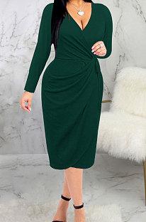 Green High Quality Long Sleeve V Neck Slim Fitting Plain Color Business Dress SMR10276-1