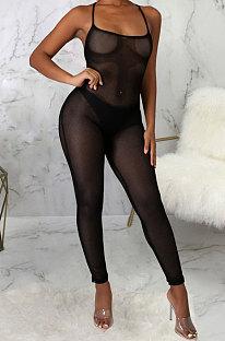 Black Sexy Mesh See-Through Condole Belt Slim Fitting Jumpsuits SMR10540-2