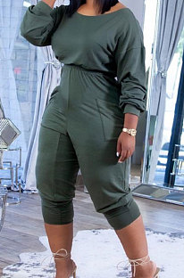 Olive Green Casual Pure Color Long Sleeve Loose Collect Waist Jumpsuits XUY9118-3
