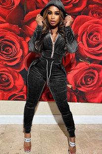 Black High Quality Velvet Long Sleeve Hoodie Tops Skinny Pants Plain Color Sets YLY128-1