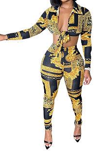 Yellow Women Fashion Sexy Printing Bandage Two Pieces BYQ1038