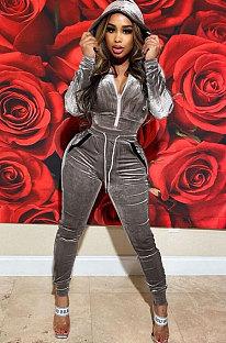 Grey High Quality Velvet Long Sleeve Hoodie Tops Skinny Pants Plain Color Sets YLY128-2