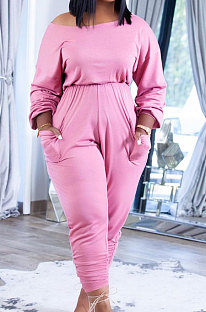 Pink Casual Pure Color Long Sleeve Loose Collect Waist Jumpsuits XUY9118-2
