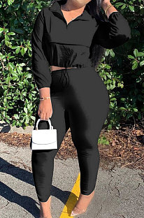 Black Casual New Long Sleeve Zipeer Loose Tops Skinny Pants Plain Color Sets MOM8029-6