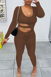 Brown Euramerican Women Solid Color Dew Waist Sexy High Waist Bodycon Jumpsuits BYQ1037-3
