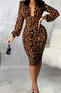 Leopard Printing Fashion New Long Sleeve Deep V Neck Collect Waist Bodycon Dress SMR10587-4
