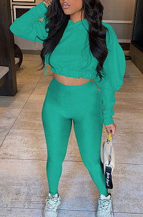 Lake Green Women Pure Color Long Sleeve Fashion Sexy Dew Waist Hooded Tops Sport Pants Sets ED8534-5