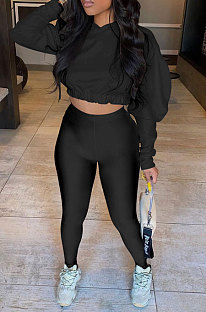 Black Women Pure Color Long Sleeve Fashion Sexy Dew Waist Hooded Tops Sport Pants Sets ED8534-1