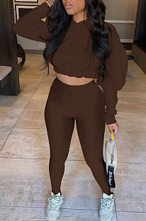 Coffee Women Pure Color Long Sleeve Fashion Sexy Dew Waist Hooded Tops Sport Pants Sets ED8534-4