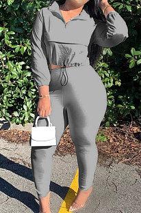 Grey Casual New Long Sleeve Zipeer Loose Tops Skinny Pants Plain Color Sets MOM8029-4