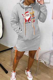 Grey New Christmas Patter Printing Long Sleeve Hem Split Bandage Dress WY66771-6