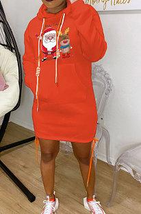 Orange New Christmas Patter Printing Long Sleeve Hem Split Bandage Dress WY66771-5