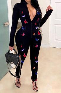 Black Women Long Sleeve Zipper Mid Waist Bowknot Printing Bodycon Jumpsuits LD8756
