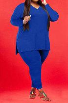 Blue Wholesale Fat Women Long Sleeve V Neck Slit T-Shirts Skinny Pants Plain Color Sets WA77262-5