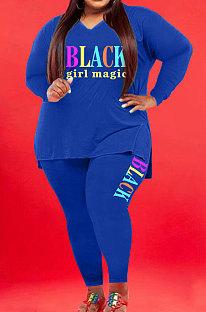 Blue Wholesale Fat Women Letter Printing Long Sleeve V Neck Slit T-Shirts Skinny Pants Plain Color Set WA77277-5