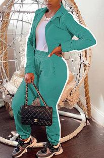 Sea Blue Women's High Quality Side Strip Long Sleeve Zip Front Sweater Velvet Trousers Sets TZ1208-3