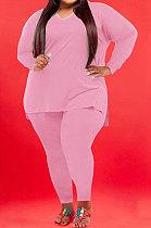 Pink Wholesale Fat Women Long Sleeve V Neck Slit T-Shirts Skinny Pants Plain Color Sets WA77262-4