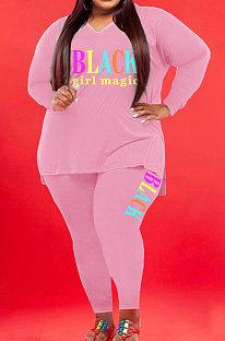 Pink Wholesale Fat Women Letter Printing Long Sleeve V Neck Slit T-Shirts Skinny Pants Plain Color Set WA77277-3