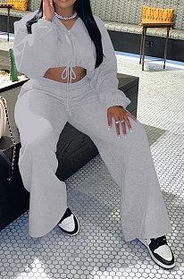 Grey Modest New Long Sleeve Drawsting Zip Hooded Tops Wide Leg Pants Sport Sets TZ1209-1