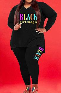 Black Wholesale Fat Women Letter Printing Long Sleeve V Neck Slit T-Shirts Skinny Pants Plain Color Set WA77277-6