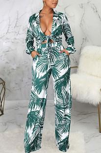 Cyan Green Sexy New Printing Long Sleeve Bandage Crop Tops Wlide Leg Pants Sets SMR10673-2