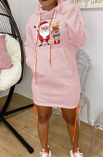 Pink New Christmas Patter Printing Long Sleeve Hem Split Bandage Dress WY66771-2