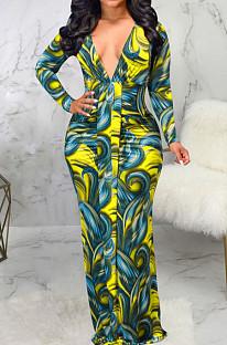 Yellow Digital Printing Long Sleeve V Neck Collect Waist Slim Fitting Long Dress SMR10590-1