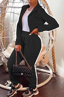 Black Women's High Quality Side Strip Long Sleeve Zip Front Sweater Velvet Trousers Sets TZ1208-2