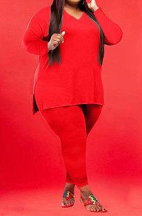 Red Wholesale Fat Women Long Sleeve V Neck Slit T-Shirts Skinny Pants Plain Color Sets WA77262-3