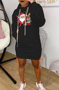Black New Christmas Patter Printing Long Sleeve Hem Split Bandage Dress WY66771-4