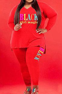 Red Wholesale Fat Women Letter Printing Long Sleeve V Neck Slit T-Shirts Skinny Pants Plain Color Set WA77277-1