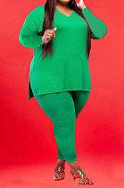 Green Wholesale Fat Women Long Sleeve V Neck Slit T-Shirts Skinny Pants Plain Color Sets WA77262-6