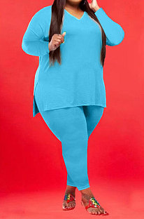 Light Blue Wholesale Fat Women Long Sleeve V Neck Slit T-Shirts Skinny Pants Plain Color Sets WA77262-1