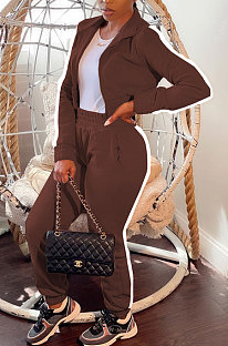 Brown Women's High Quality Side Strip Long Sleeve Zip Front Sweater Velvet Trousers Sets TZ1208-1