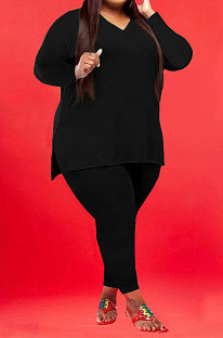 Black Wholesale Fat Women Long Sleeve V Neck Slit T-Shirts Skinny Pants Plain Color Sets WA77262-2