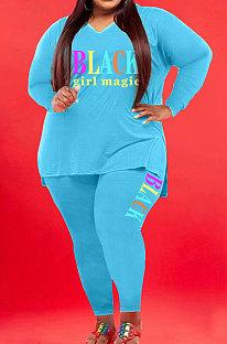 Green Wholesale Fat Women Letter Printing Long Sleeve V Neck Slit T-Shirts Skinny Pants Plain Color Set WA77277-5