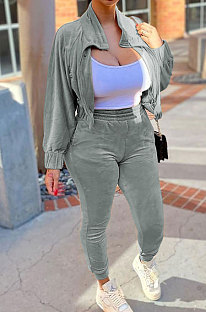Silver High Quality Velvet Batwing Sleeve Zip Crop Tops Trousers Plain Color Sport Sets WY6844-2