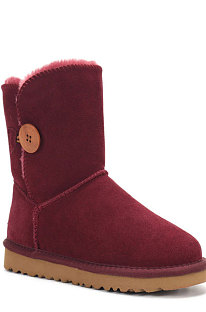 Wine Red Button Round Toe Shoes Snow Boots FN5803-9