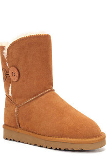 Chestnut Button Round Toe Shoes Snow Boots FN5803-3