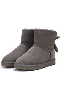 Gray Snow Boot Pendant Bowknot Lady Wool Round Toe Shoes Flat Boots FN3281-2