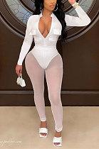 White Women Sexy Pure Color Zipper Pocket Mesh Spaghetti Pants Sets AGY68520-1