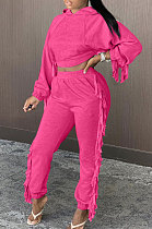 Rose Red Cotton Blend Pure Color Tassel Long Sleeve Crop Hooded Trousers Sets XMC6038-1