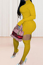 Yellow Women Fashion Sexy Hole Pure Color Ribber Anchored Pants Bodycon Jumpsuits AGY68522-2