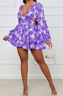 Purple Blue Women Autumn Winter V Collar Hollow Out Tied Tight Printing Flounce Mini Dress AYM5039-5