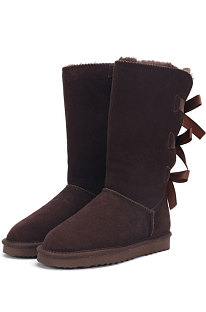 Chocolate Snow Boot Bowknot Lady Wool Round Toe Shoes High For Boots FN3283-4