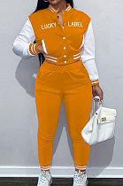 Orange Casual Webbing Spliced Ribber Letter  Printing Long Sleeve Cardigan Jacket Coat Trousers Baseball Uniform Sets SM9213-2