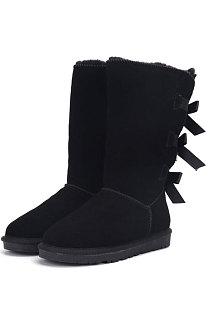Black Snow Boot Bowknot Lady Wool Round Toe Shoes High For Boots FN3283-3