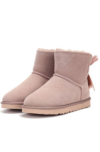 Pink Snow Boot Pendant Bowknot Lady Wool Round Toe Shoes Flat Boots FN3281-4